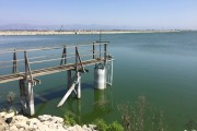 waste water evaporation pond and pier